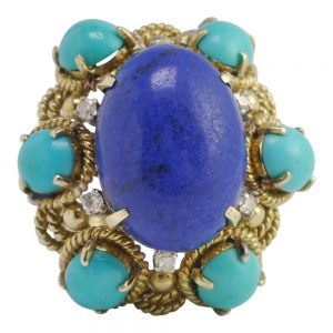 Turquoise Lapis Lazuli Diamond 14ct Gold Ring