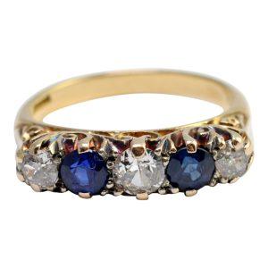 Victorian Sapphire Diamond 18ct Gold Ring