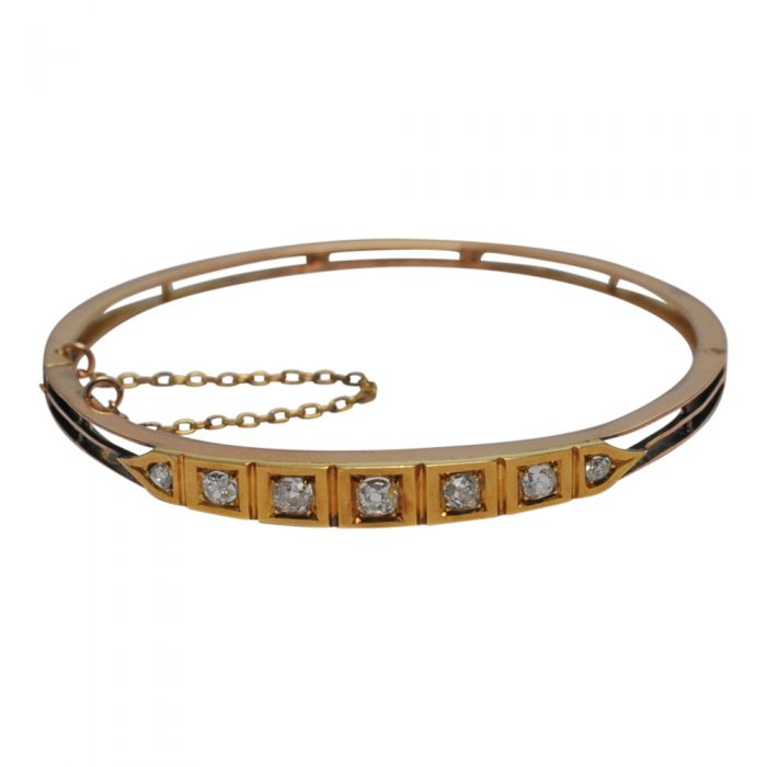 Victorian 15ct Gold Diamond Bangle