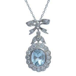 Aquamarine Diamond 18ct Gold Pendant