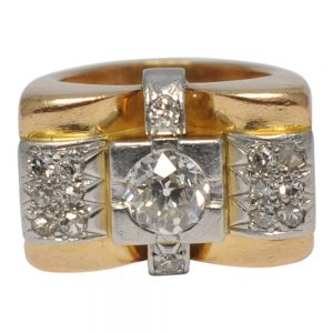 Mid Century Diamond 18ct Gold Retro Ring