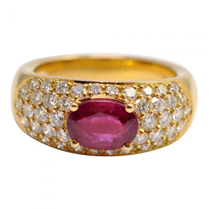 Ruby Diamond 18ct Gold Bombé Ring