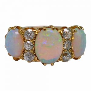 Victorian Opal Diamond 18ct Gold Ring