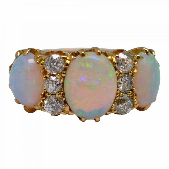 Victorian Opal Diamond 18ct Gold Ring
