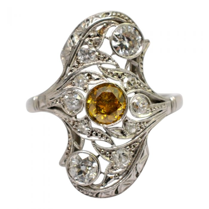 1920s Certified Fancy Yellow Diamond Platinum Ring