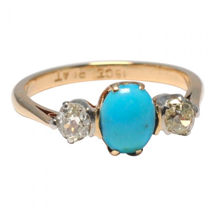 Edwardian Turquoise Diamond 18ct Gold Platinum Ring