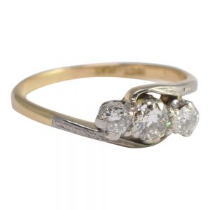 Edwardian Diamond Trilogy Platinum 18ct Gold Ring