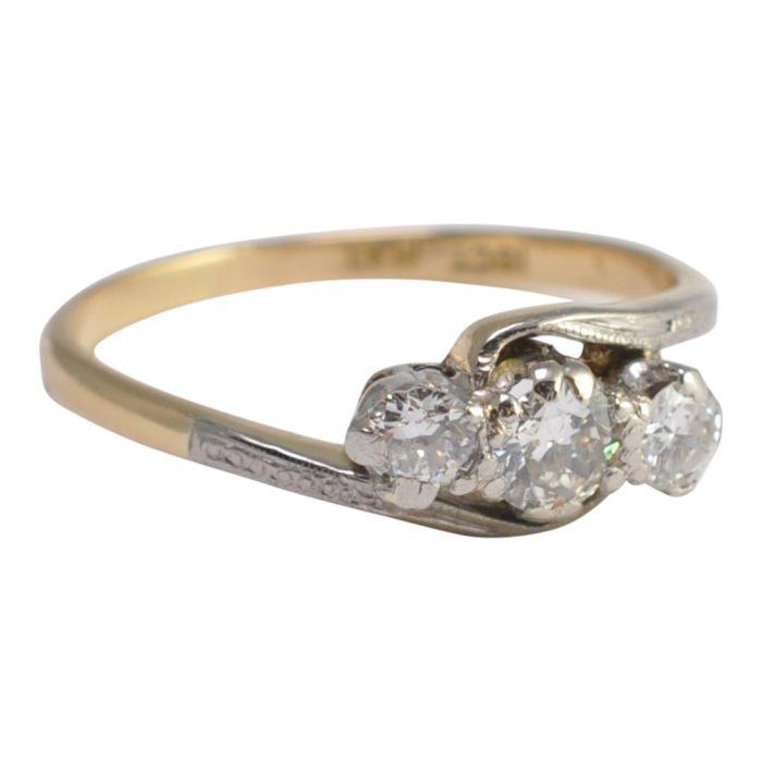 Edwardian Diamond Trilogy Platinum 18ct Gold Ring