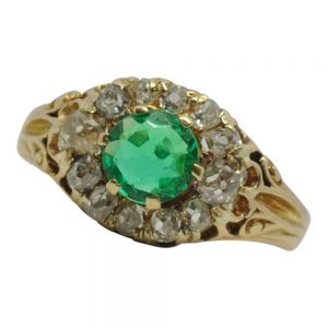 Antique Victorian Emerald Diamond Gold Ring