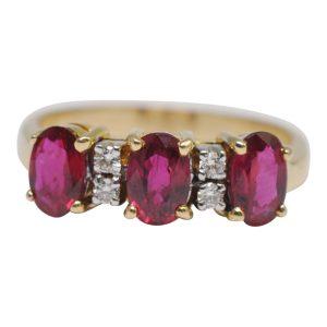 Ruby Diamond Three Stone 18ct Gold Ring