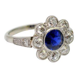 Art Deco Era Sapphire Diamond Halo Ring