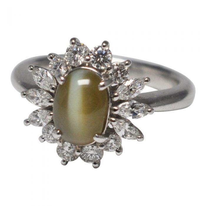 Chrsyoberyl Cat's Eye Diamond Platinum Ring