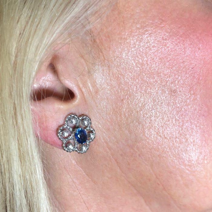 Boodles Sapphire Diamond Gold Earrings