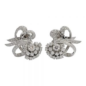 Diamond Platinum Mid Century Clip-on Earrings