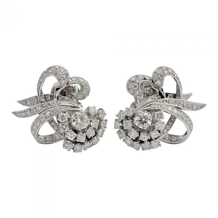 Diamond Platinum Mid Century Clip-on Earrings