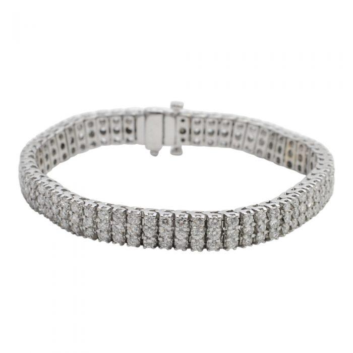 Diamond 3 Row 18ct White Gold Bracelet
