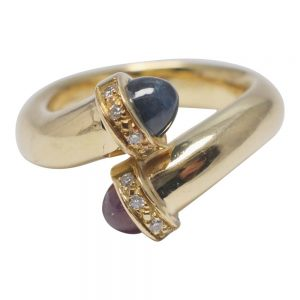 Cabochon Ruby Sapphire Diamond Gold Crossover Ring
