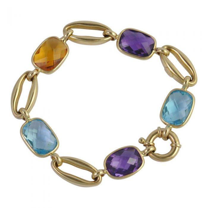 Multi Gem Set Gold Bracelet