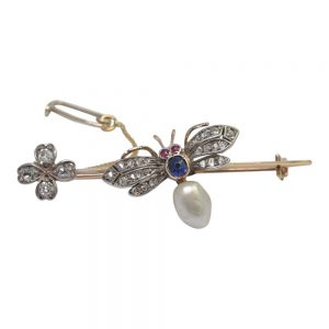 Victorian Diamond Bee 15ct Gold Brooch