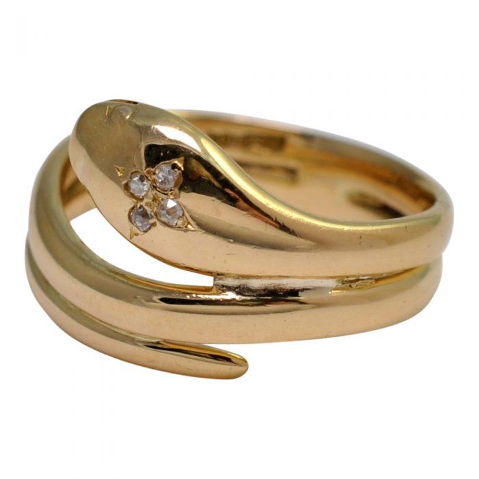 Victorian Diamond 18ct Gold Snake Ring