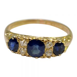 Victorian Sapphire Diamond 18ct Gold Trilogy Ring