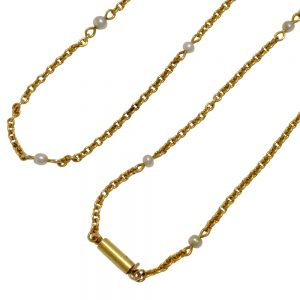 Victorian 15ct Gold Pearl Chain