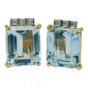 Mid Century Aquamarine Diamond 18ct Gold Earrings