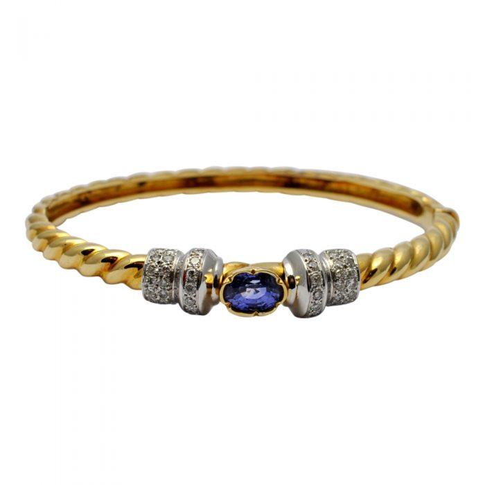Sapphire Diamond 18ct Gold Bangle