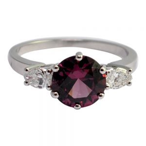 Rhodolite Diamond 18ct Gold Engagement Ring