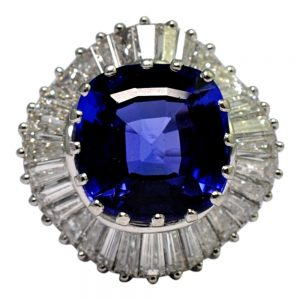 Tanzanite Diamond Platinum Ballerina Ring