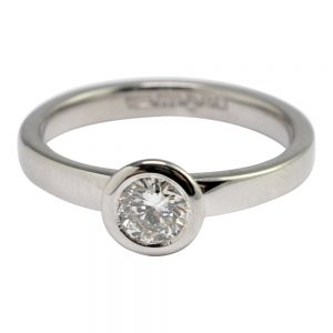 Solitaire Diamond Palladium Engagement Ring