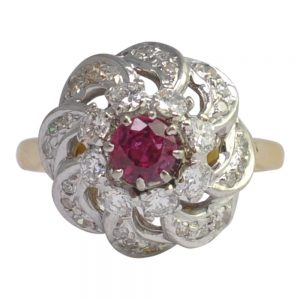 Ruby Diamond 18ct Gold Cluster Ring
