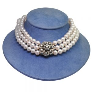 Antique Boodles Diamond and Pearl Gold Choker