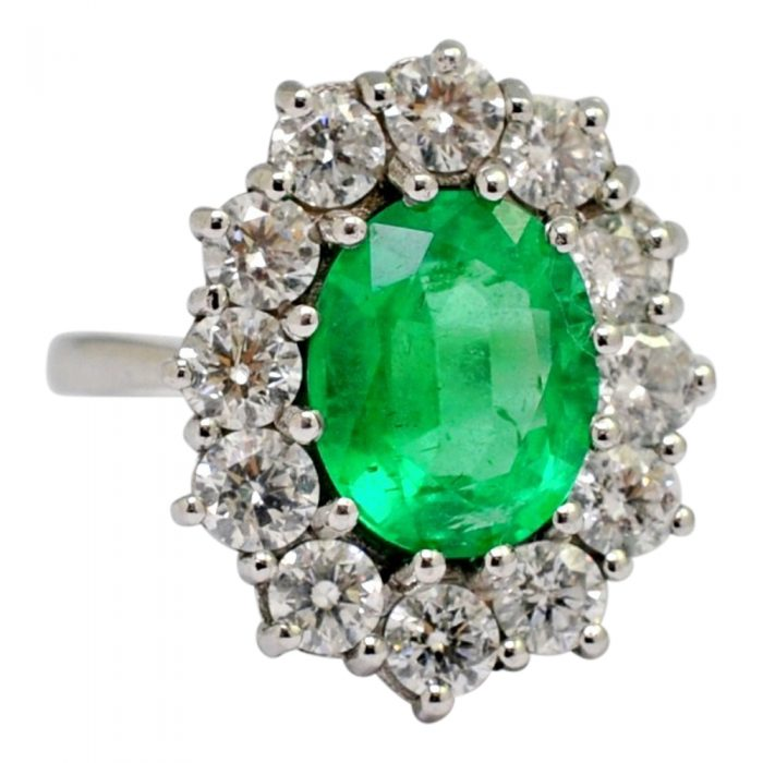 Emerald Diamond Gold Cluster Ring