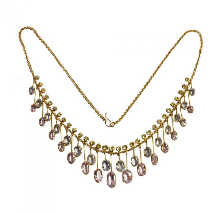 Antique Victorian Gem Set Fringe Gold Necklace