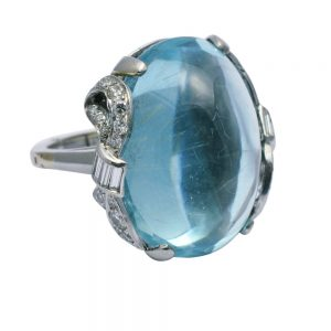 Cabochon Aquamarine Diamond Platinum Ring