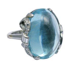 Cabochon Aquamarine Diamond Platinum Ring