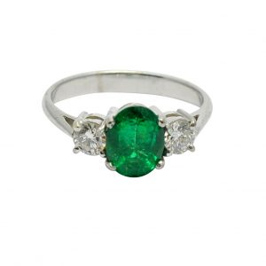 Emerald Diamond Gold Trilogy Ring