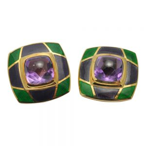 De Vroomen Amethyst Enamel Gold Clip-on Earrings