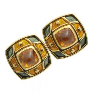 De Vroomen Citrine Enamel Gold Clip-on Earrings