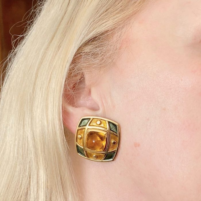 De Vroomen Citrine Enamel Gold Clip-on Earrings
