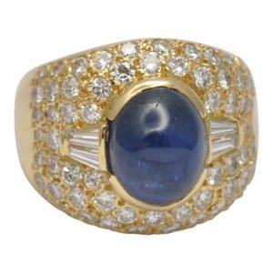 Cabochon Sapphire Diamond Gold Ring