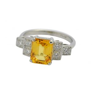 Yellow Sapphire Diamond Platinum Ring