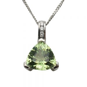Apple Green Tourmaline and Diamond 18ct Gold Pendant