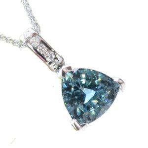 Blue Tourmaline and Diamond 18ct Gold Pendant
