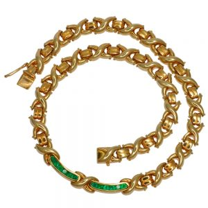 Heavy 18ct Gold Emerald Necklace