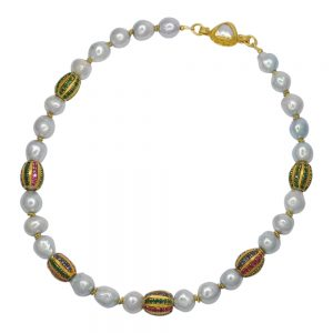 Cultured Pearl and Multi Gem Gold Necklace