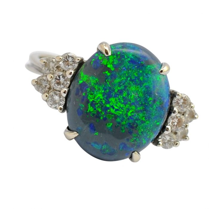 Black Opal Diamond Gold Ring