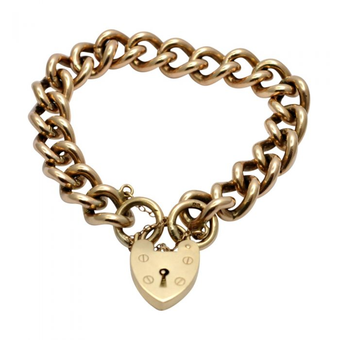 Antique Heavy 9ct Gold Curb Link Bracelet