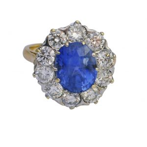Sri Lankan Sapphire Diamond 18ct Gold Ring